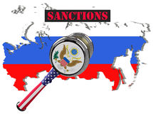 Judge hammer, European Union and United States of America sanctions against Russia, flag and emblem. 3d illustration.  on Royalty Free Stock Photography