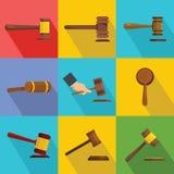 Judge hammer icons set, flat style royalty free illustration
