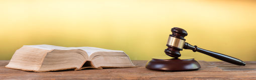 Judge hammer with law book Royalty Free Stock Image