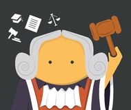 Judge with a hammer. In mantle with wig Royalty Free Stock Photography