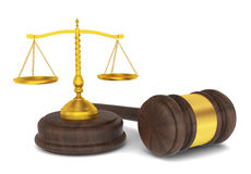 Judge hammer with scales, law concept Stock Photo