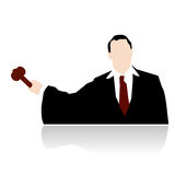 Judge with hammer stylized vector Stock Photos