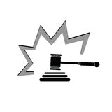 Judge hammer vector grey illustration Royalty Free Stock Images