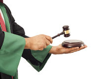 Judge hand knocking gavel royalty free stock photos