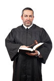 Judge holding the gavel and book stock images