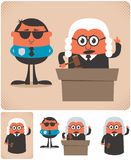 Judge. Illustration of cartoon judge in 4 different versions. No transparency and gradients used Royalty Free Stock Photo
