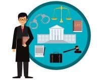 Judge. Man judge. Icon set law. Vector illustration Stock Photo