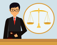 Judge. Man judge in the workplace holding gavel. Vector illustration Royalty Free Stock Photography