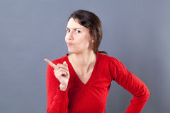 Judge mental woman expressing a severe watch out Stock Photography