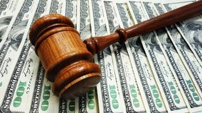 Judge money. Judges court gavel on money Royalty Free Stock Photos