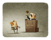 Judge pronouncing sentence to man. Judge with court hammer passing a sentence to a shocked man. Illustration Stock Images