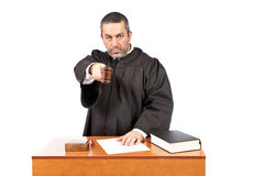 Judge reading a sentence stock photo