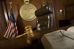 Judge's Chair In Courtroom Royalty Free Stock Photos