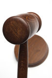 Judge's gavel. Close up over white Stock Photo