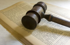 Judge's gavel; Divorce. Gavel with law dictionary; gavel rests on the definition of divorce Stock Images