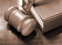 Judge's gavel and legal book Stock Photo