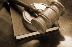 Judge's gavel and legal book Stock Images