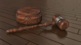 Judge`s gavel and parquet flooring. 3d render. Judge`s gavel and parquet flooring Royalty Free Stock Images