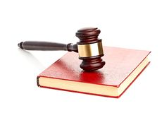 Judge's gavel on red legal book Royalty Free Stock Photography