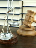 Judges Gavel and scale of justice Stock Photos