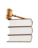 Judge's gavel and stack of legal books Royalty Free Stock Images