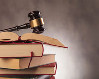 Judge's gavel on top  of books with copyspace Stock Photos
