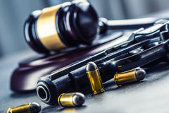 Judge S Hammer Gavel. Justice And Gun. Justice And The Judiciary In The Unlawful Use Of Of Weapons. Judgment In Murder Royalty Free Stock Images