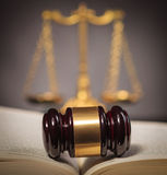 Judge's hammer in the middle of a law book Stock Images