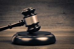 Judge Law And Justice Symbol. Judge`s hammer on wooden table. Judge Law And Justice Symbol stock photo