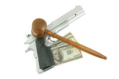 Judge's, money  gavel and gun isolated Royalty Free Stock Photo