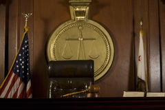 Judge's Seat And Gavel In Court Room. Closeup of judge's seat and gavel in court room stock photos