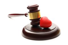 Judge's wooden gavel and heart Stock Photo