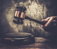 Judge's wooden hammer Stock Photo