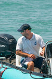 Judge sailing competitions in Pomorie. Bulgaria Stock Photography