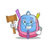 Judge school bag character cartoon. Vector illustration Royalty Free Stock Photos