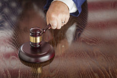 Judge Slams Gavel and American Flag Table Reflection Royalty Free Stock Photos