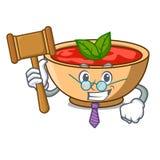 Judge tomato soup character cartoon. Vector illustration Royalty Free Stock Photo