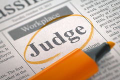 Judge Wanted. Search Concept. 3D. Judge. Newspaper with the Vacancy, Circled with a Orange Marker. Blurred Image with Selective focus. Job Search Concept. 3D royalty free stock photos