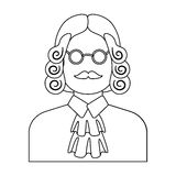 A judge in a wig and glasses. A person who makes a verdict to a criminal.Prison single icon in outline style vector Stock Images