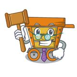 Judge wooden trolley mascot cartoon. Vector illustration stock illustration