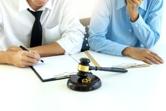 Judge work at the table talk with wife husband royalty free stock photo