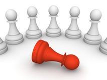 Judgement. White pawns around one red pawn Stock Photo