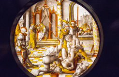The Judgement of Cambyses. Is an oil on wood diptych by Dutch artist Gerard David, depicting the arrest and flaying of the corrupt Persian judge Sisamnes on the Stock Photography