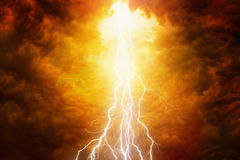 Judgement day. Religious background - bright lightnings in red apocalyptic sky, judgement day, end of world Stock Images
