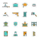 Judgement Line Icons Set. Judgement and law line icons set with court prison and criminal flat  vector illustration Stock Photos