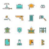 Judgement Line Icons Set Stock Photos