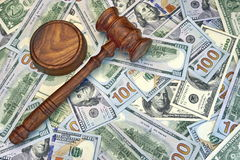 Judges Or Auctioneer Gavel On The Dollar Cash Background Royalty Free Stock Images