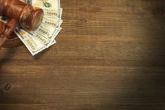 Judges or Auctioneer Gavel And Money On The Wooden Table. Concept For Corruption, Bankruptcy Court, Bail, Crime, Bribing, Fraud, Auction Bidding. Judges or Royalty Free Stock Image