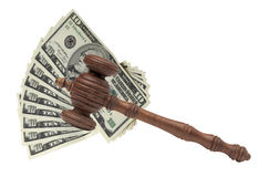 Judges or Auctioneers Gavel Or Hammer And Big Money Stack On Woo. Den Bench Isolated On White Background. Concept For Financial Crime, Close Up royalty free stock image