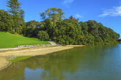Small Sandy Beach. At Judges Bay Parnell Auckland New Zealand Stock Images